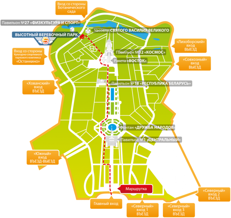 Веревочный парк Sky Town на схеме территории ВДНХ